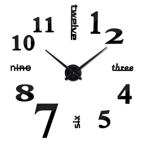 3D Modern Jumbo Wall Clock, Black