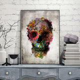 Floral Skull Wall Art Painting