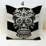 Voodoo Skull Black and White Striped Throw Pillows