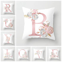 Alphabet Letters Throw Pillows in White, Pink and Grey