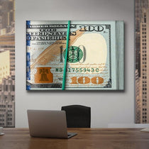 Unique Wall Art, Money Bundle 100 Dollar Bills, Pop Art Canvas Print
