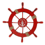 Mediterranean Nautical Red Helm, Ship Wheel Home Decor