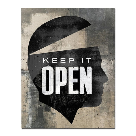 Keep it Open, Open Mind Abstract Quote Industrial Canvas Print, Wall Art