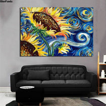 Modern Sunflowers Oil Painting Wall Art Print