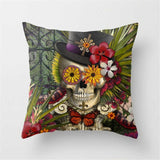 Punk Rock Top Hat and Floral Skull Accent Pillow