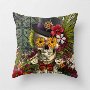 Punk Rock Top Hat and Floral Skull Accent Pillow Rouse the Room