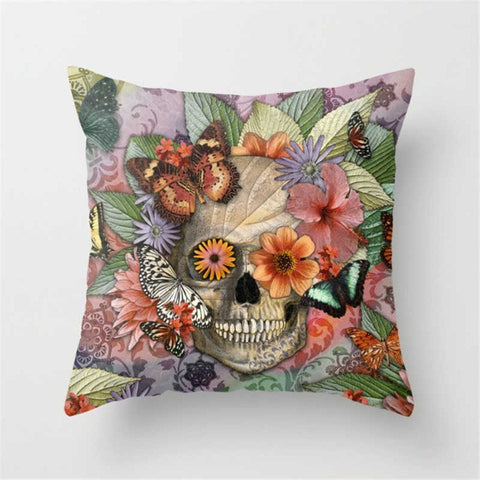 Punk Rock, Floral and Butterflies Skulls Accent Pillows
