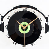 DJ Vinyl Record and Headphones Wall Clock
