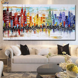 Colorful City Skyline Oil Painting