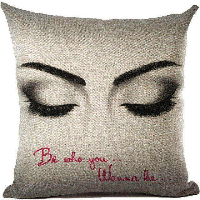 Sexy Girl Eyes Closed with Be Who You Wanna Be Quote Throw Pillows