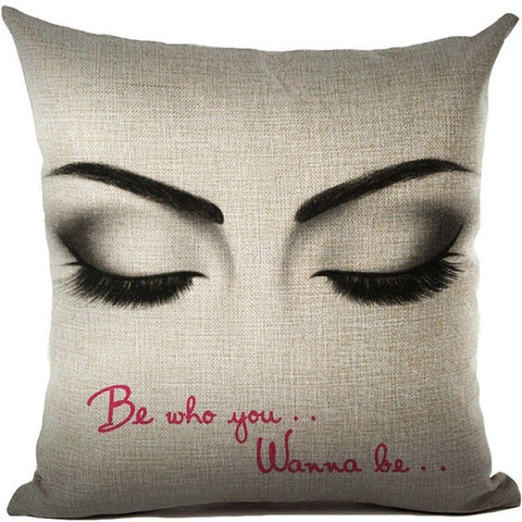 Sexy Girl Eyes Closed with Be Who You Wanna Be Quote Throw Pillows Rouse the Room