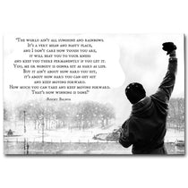 Rocky Balboa Boxing Motivational Quote Wall Art, Sylvester Stallone Canvas Poster
