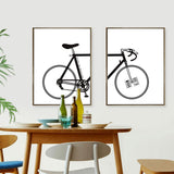 Modern Nordic Wall Painting Black White Bicycle Print