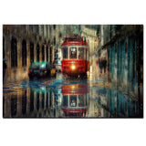 Streetcar, City Street Trolley, Oil Painting Canvas Print Wall Art