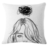 Artistic Sketch Scenes Throw Pillows
