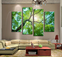 4 Piece Twisted Green Tree Canvas Wall Art