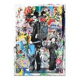 Graffiti-Style, Charlie Chaplin, Pop Art Canvas Wall Print