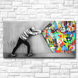Graffiti Canvas Art for Wall, Behind the Curtain Pop Art Piece