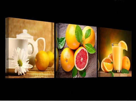 Grapefruit Kitchen Scene Wall Art Canvas Set