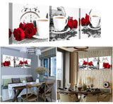 Cafe and Roses 3 Panel Kitchen Wall Art