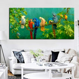 Jungalow Canvas Print, Birds, Parrots on Branch Oil Wall Art