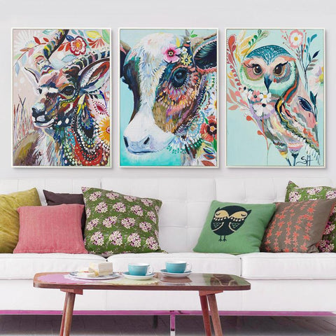 Colorful & Sweet Animal Canvas Pictures for Wall