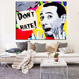 No Hate, Don't Hate, Pee-wee Herman Canvas Pop Art for Wall