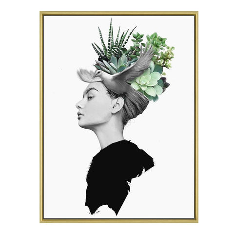 Nordic Style Black & White with Green Surrealism Wall Art, Woman with Plant Figures Headdress Rouse the Room