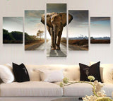 Elephant Oil Painting Canvas Print Set