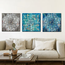 White Washed Distressed Mandala Flower Canvas Prints