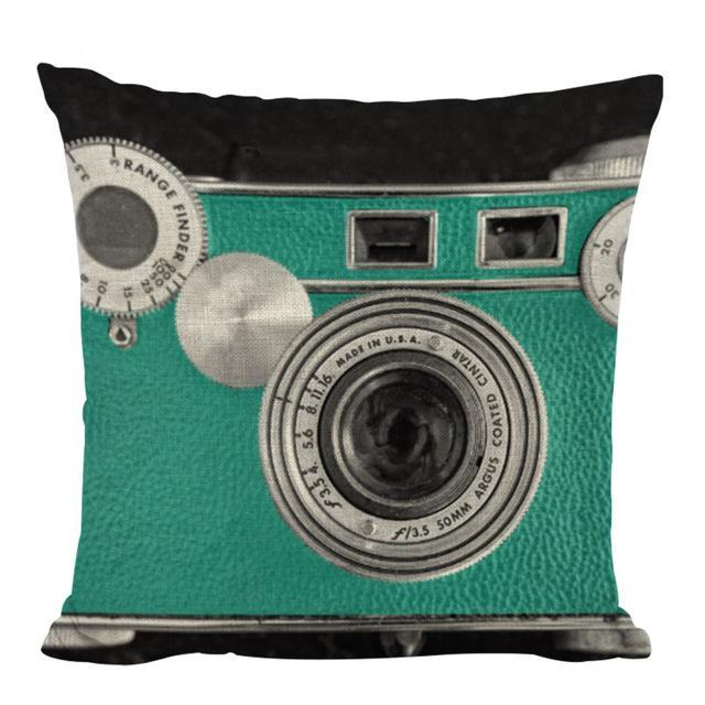Teal Camera Throw Pillow, Accent Cushion Cover for Unique, Artsy Decor