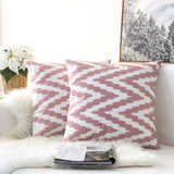 Pair of Pink and White ZigZag Chevron Embroidered Pattern Accent Pillow Covers, 2 Pcs
