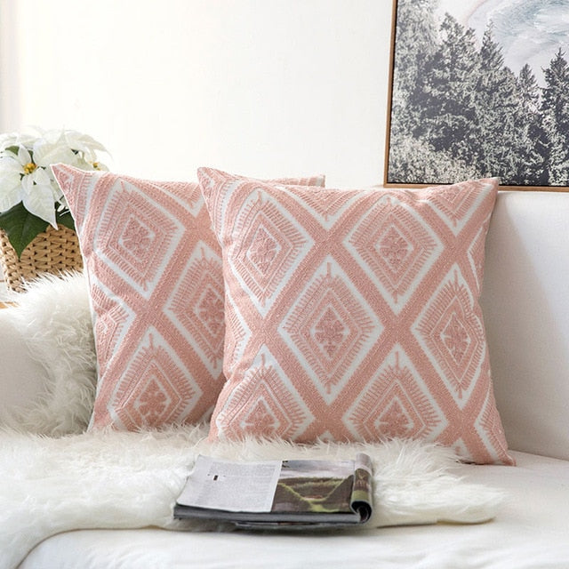https www rousetheroom com products pair of light pink diamond embroidered pattern accent pillow covers 2 pcs