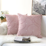 Pair of Light Pink Geometric Wave Embroidered Pattern Accent Pillow Covers, 2 Pcs