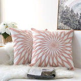 Pair of Light Pink Diamond Embroidered Pattern Accent Pillow Covers, 2 Pcs