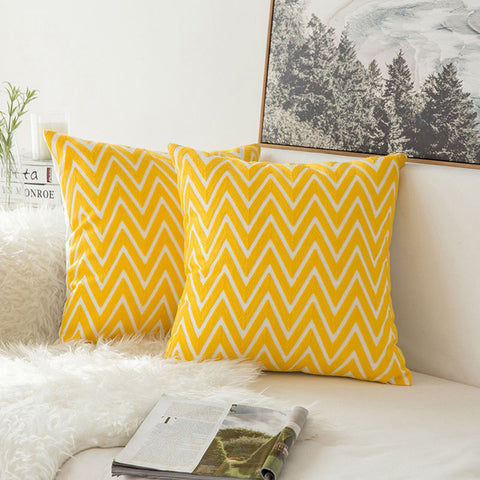 Pair of Yellow Geometric Embroidered Pattern Accent Pillow Covers, 2 Pcs