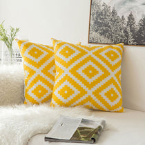 Pair of Yellow Diamond Embroidered Pattern Accent Pillow Covers, 2 Pcs
