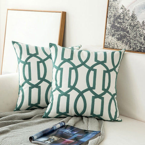 Pair of Sea Green Geometric Embroidered Pattern Accent Pillow Covers, 2 Pcs
