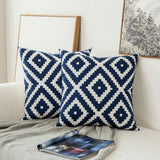 Pair of Blue Damask Embroidered Pattern Accent Pillow Covers, 2 Pcs