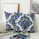 Pair of Blue Geometric Embroidered Flower Pattern Throw Pillow Covers, 2 Pcs