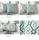Pair of Sea Green Diamond Embroidered Pattern Accent Pillow Covers, 2 Pcs