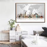 Travel Theme World Map Canvas for Wall - Shop Cheap Wall Decor Online