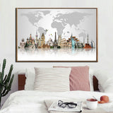 Travel Theme World Map Canvas for Wall