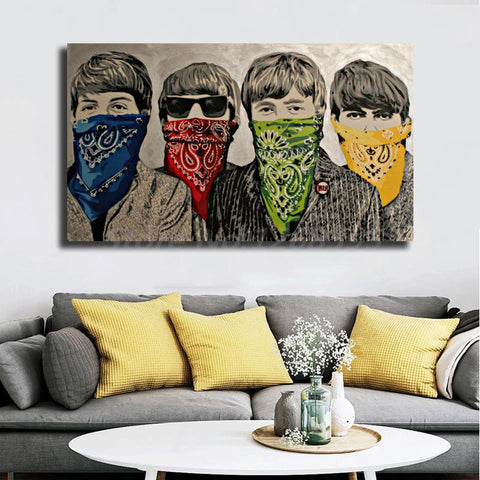 The Beatles in Bandannas Modern Pop Art Artwork, Banksy Canvas Print for Wall