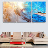 Blue Ocean Wave Art Set