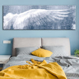 Angel Wing Rustic Wall Art, Canvas Print, Long Horizontal