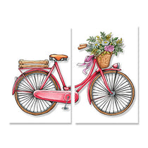 Red & Pink Bicycle Art Canvas Print, Minimalist Shabby Chic Wall Art