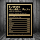 Success Nutrition Facts, HD Canvas Print, Inspirational Success Quote Art for Wall
