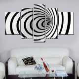 Psychedelic 3D Black and White Large Canvas Set