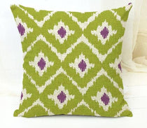 Purple and Green Modern Tribal Pattern Throw Cushion Cover